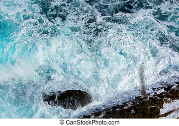 ocean waves crashing on the rocks with white foam