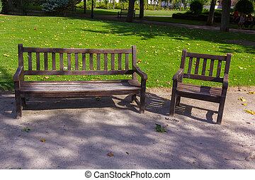 Wooden seat in a park