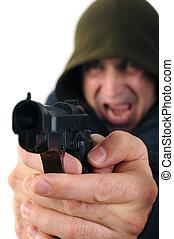 Gunman - A man wearing a hood aiming a gun with white...