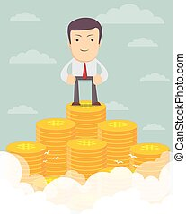 Man proudly standing on the huge money staircase. - Vector...