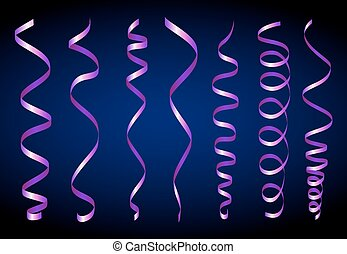 Paper streamer set - Violet Twirl Paper Streamer Set. Vector...