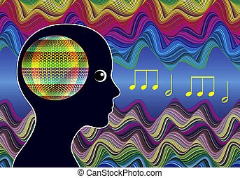 Mind Expanding Music - Woman listens to healing sounds...