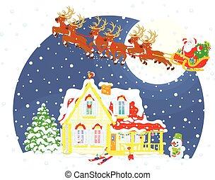 Christmas Sleigh of Santa Claus - Magic reindeers flying...