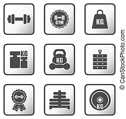 set of weight icons - set glossy metal buttons with weight...