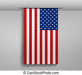 Vertical hanging US flag