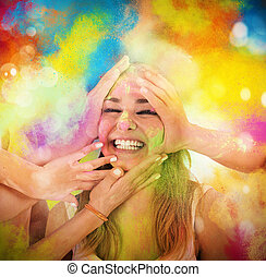 Play with colored powders - Girl laugh and playing with...