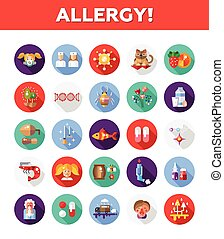 Set of flat design allergy and allergen icons, infographics...