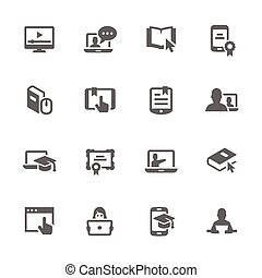Simple Online Education Icons - Simple Set of Online...