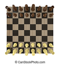 Overhead view of a chess board set up for a game