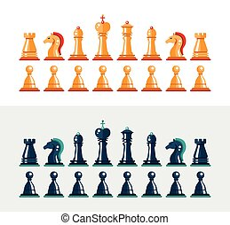 Flat design isolated black and white chess figures. Collection of the king, queen, bishop, knight, rook, pawn