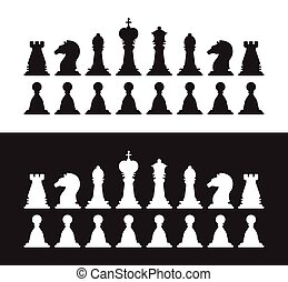 Isolated black and white chess silhouettes. Collection of the king, queen, bishop, knight, rook, pawn