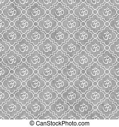 Gray and White Aum Hindu Symbol Tile Pattern Repeat Background