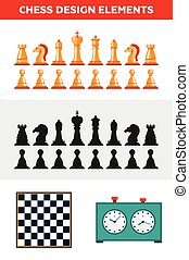 Flat design isolated black and white chess figures with chessboard, clock. Collection of the king, queen, bishop, knight, rook, pawn