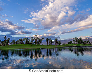Golf course sunrise, Palm Desert - Beautiful sunrise over a...