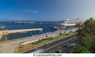 Sea port Funchal, Madeira island, Portugal timelapse - Sea...