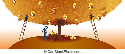 Abstract Business Illustration - Businessmen Claiming The...