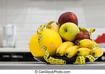Concept of diet Low-calorie fruit diet Diet for weight loss...