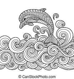 dolphin zentangle - Hand drawn zentangle dolphin with...