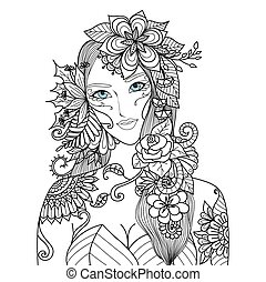 Woman with flowers - Beautiful forest fairy for coloring...