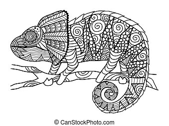 chameleon coloring book - Hand drawn chameleon zentangle...