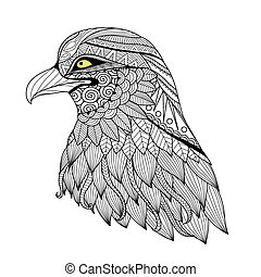 Eagle coloring page - Detail zentangle eagle for coloring...