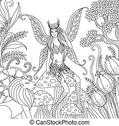 fairy in forest - page, wings, decoration, children, print,...
