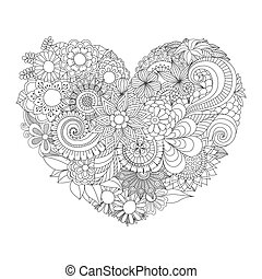 flower in heart shape line art design for coloring book for...