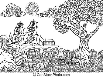 landscape coloring book - Whimsical seascape line art design...