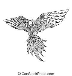 parrot - Parrot line art design for coloring book for adult,...