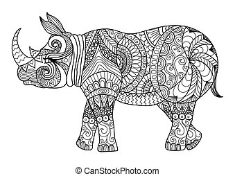 Rhino coloring page - Rhino line art design for coloring...