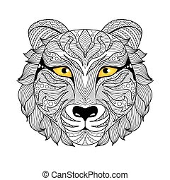 Tiger coloring page - Tiger face zentangle design for tattoo...