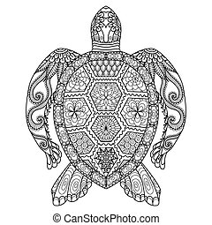 Turtle coloring page - Turtle line art design for coloring...
