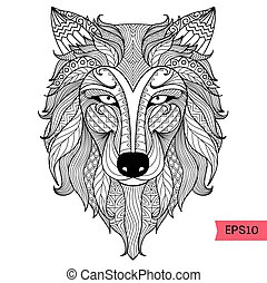 Wolf coloring page - Wolf line art design for coloring book...