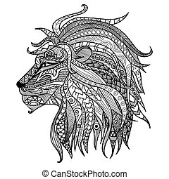 Lion coloring book - Lion line art design for coloring book...