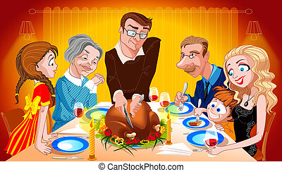 Thanksgiving Dinner - Family Enjoying Thanksgiving Dinner
