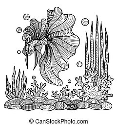 Fighting fishline art design for coloring book for adult,...