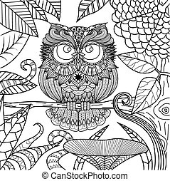 Owl coloring book - Owl in the forest line art design for...