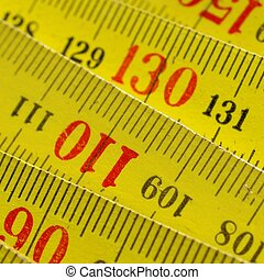 Ruler - Detail of a wooden metric carpenter ruler