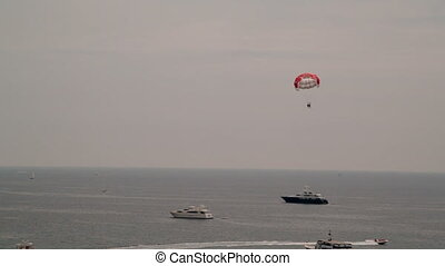 Para-sailing over the sea in Cannes - Para-sailing over the...