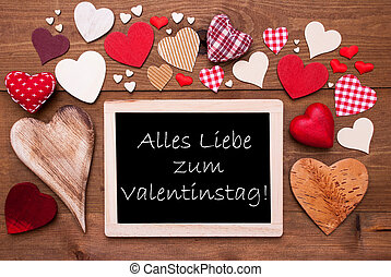 One Chalkbord, Many Red Hearts, Valentinstag Means...