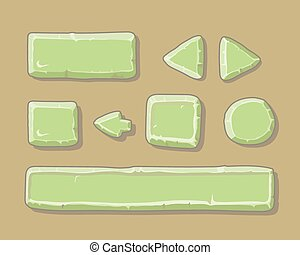 Set of cartoon green buttons for web or game design