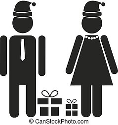 Two isolated figures - male and female in festive apparel with Santa's hat