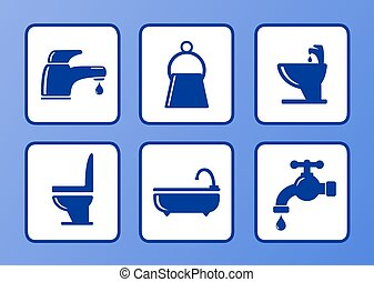 bathroom icons set - set of bathroom icons on blue...