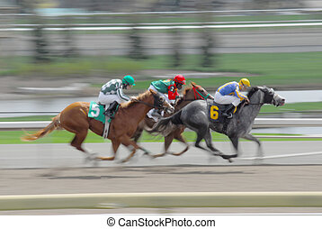 Speeding race horses with blured background