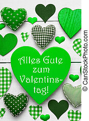 Green Hearts Texture, Text Valentinstag Means Happy...
