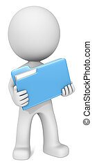 File. - Dude 3D character holding Blue Manila Folder. Front...
