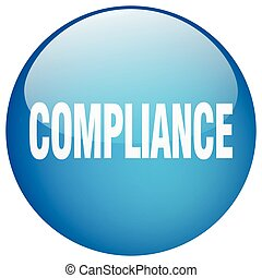 compliance blue round gel isolated push button