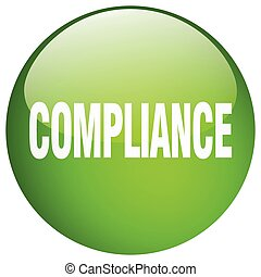 compliance green round gel isolated push button