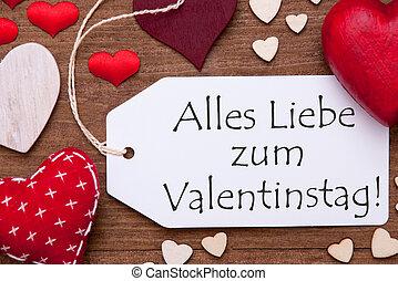 Uno, etiqueta, rojo, Corazones, Valentinstag, medios,...