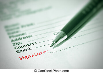 subscription - Signature in form of paper with pen.